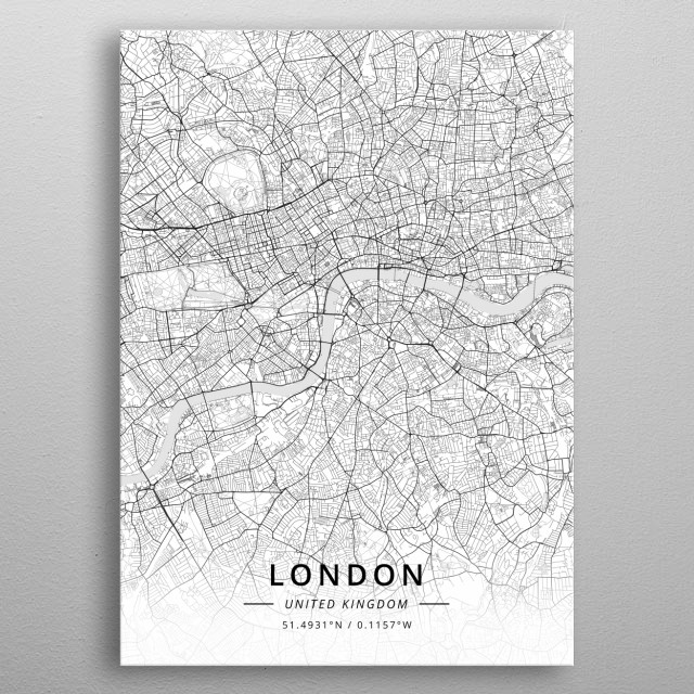 High-quality metal print from amazing City Maps Light collection will bring unique style to your space and will show off your personality. metal poster