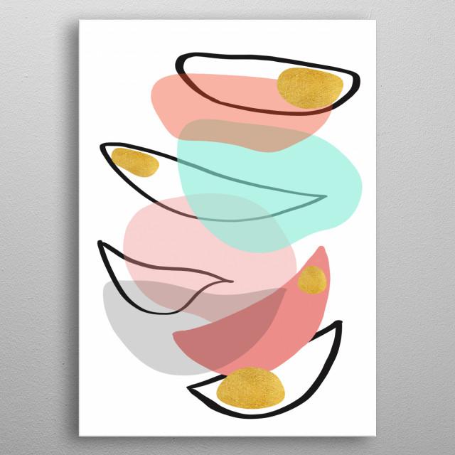 Modern minimal forms 15 metal poster