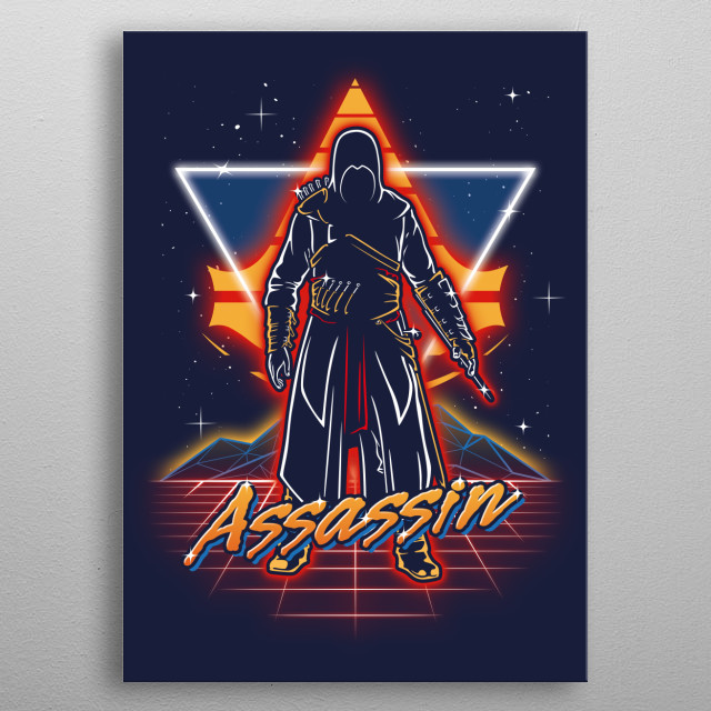 Assassin retro style from the 80s. metal poster