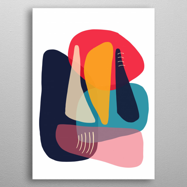 Modern minimal forms 18 metal poster