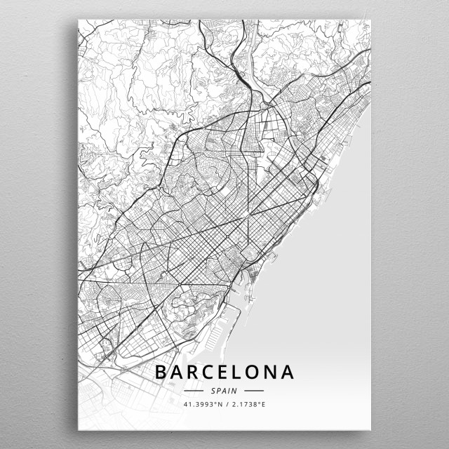 Barcelona, Spain metal poster