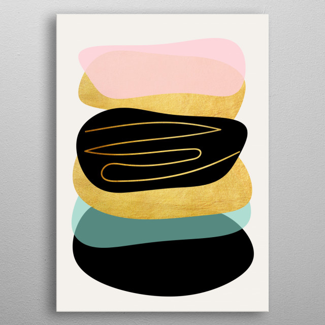 Modern minimal forms 3 metal poster