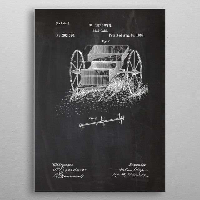 1882 Road Cart - Patent Drawing metal poster