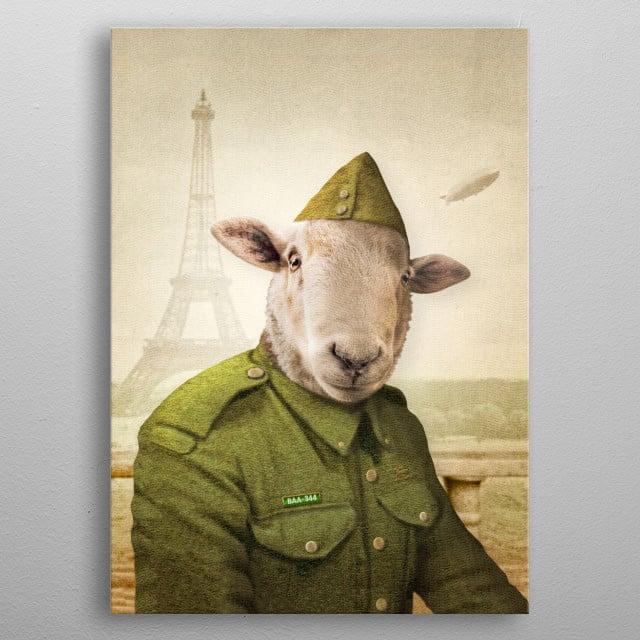 Private Leonard Lamb visits Paris metal poster