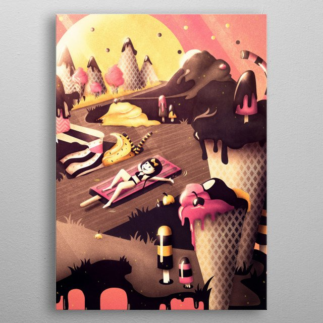 It's summertime, the sun is shining and you are dreaming of a delicious fantasy land far away… Relax and enjoy a lovely chocolate river rid... metal poster