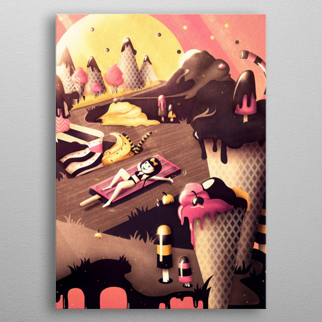 It's summertime, the sun is shining and you are dreaming of a delicious fantasy land far away… Relax and enjoy a lovely chocolate river ride through the land of ice cream! Grab your dessert and have fun with this surreal pink landscape illustration. metal poster
