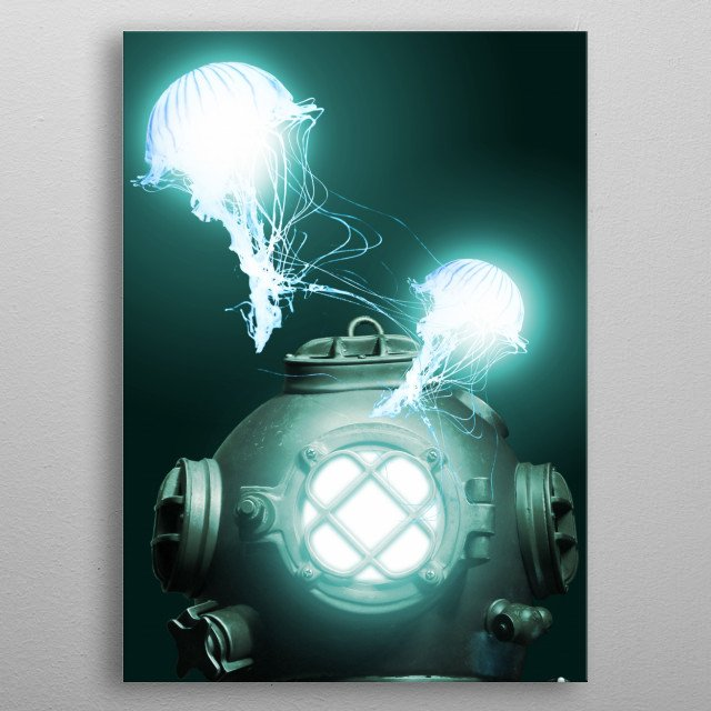 DEEP DIVING metal poster