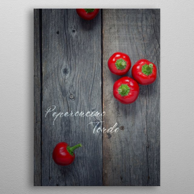 Red rounded chili pepper - Food ingredients series metal poster