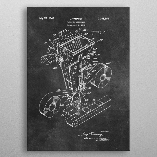 patent art Tamassy Packaging apparatus 1940 metal poster
