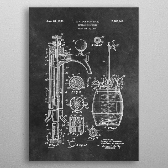 patent art Dolison Beverage dispenser 1939 metal poster