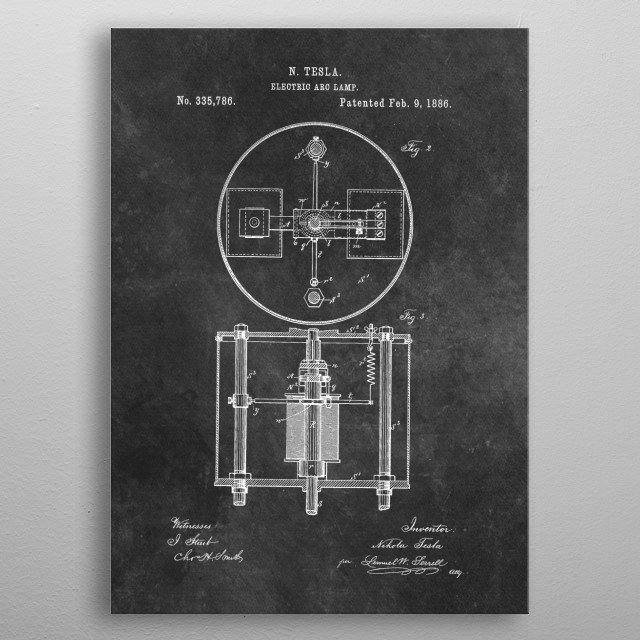 patent art Tesla Electric Arc Lamp 1886 metal poster
