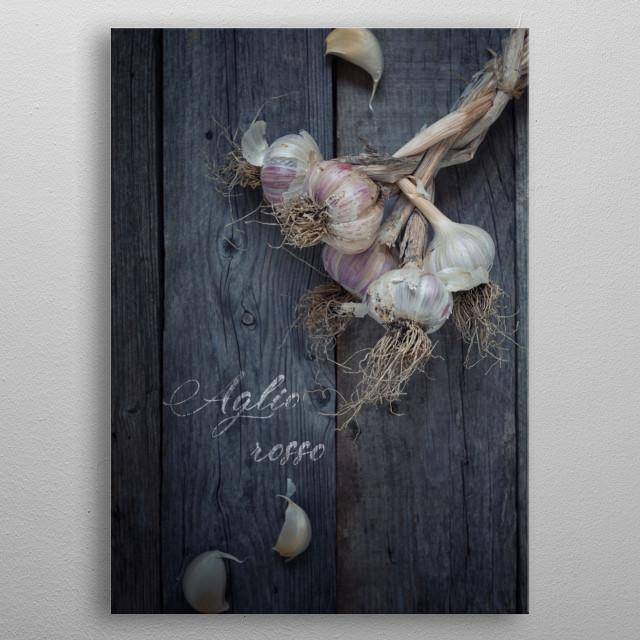 Red garlic - Food ingredients series metal poster