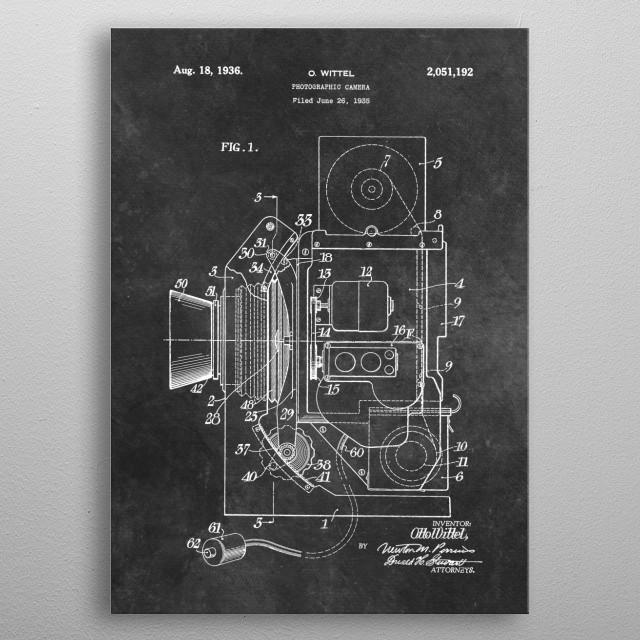 patent art Wittel Photographic camera 1936 metal poster