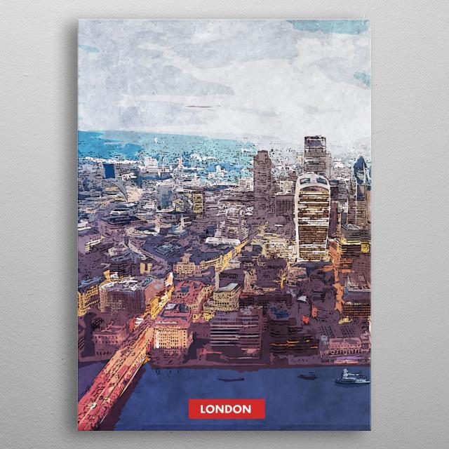London city skyline metal poster