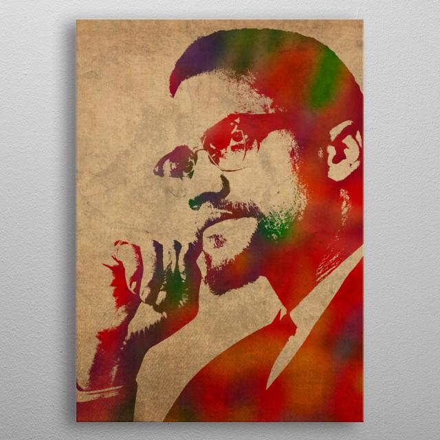 Malcolm X Watercolor Portrait metal poster