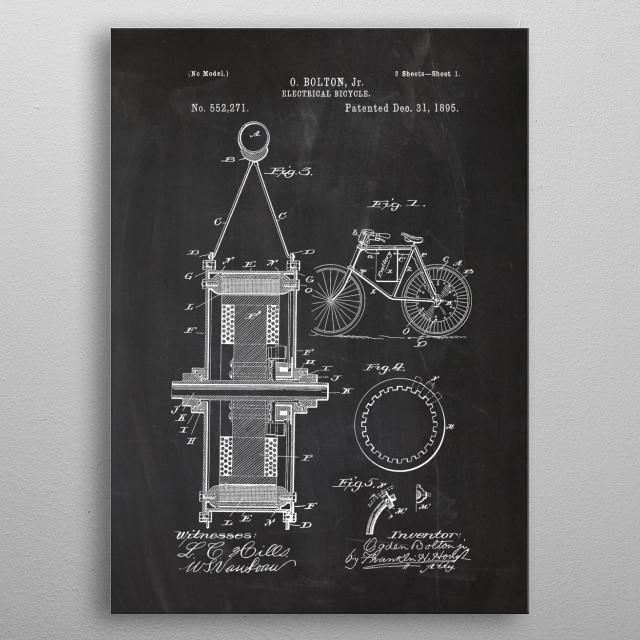 1895 Electrical Bicycle - Patent Drawing metal poster