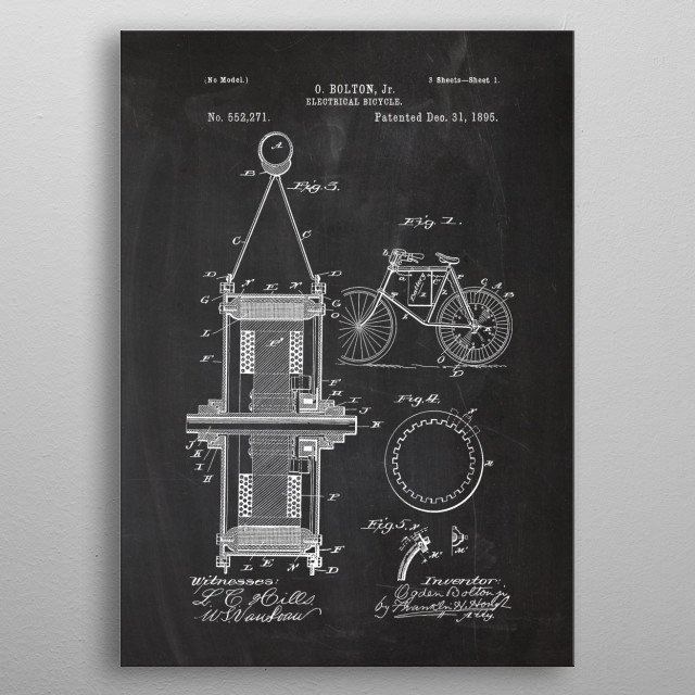 High-quality metal print from amazing Bicycle Patent Drawing collection will bring unique style to your space and will show off your personality. metal poster