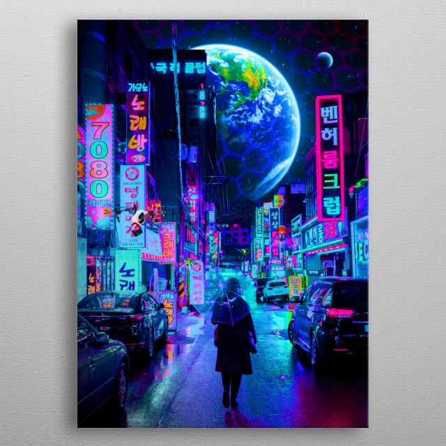 On year 2077 almost 50% of human population is now living to a new planet called New World. photographer: Steven Roe metal poster