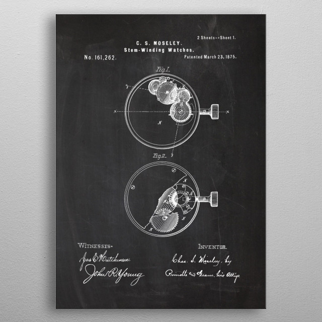 1875 Stem-Winding Watches - Patent Drawing metal poster