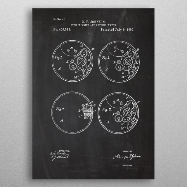 1889 Stem Winding and Setting Watch - Patent metal poster