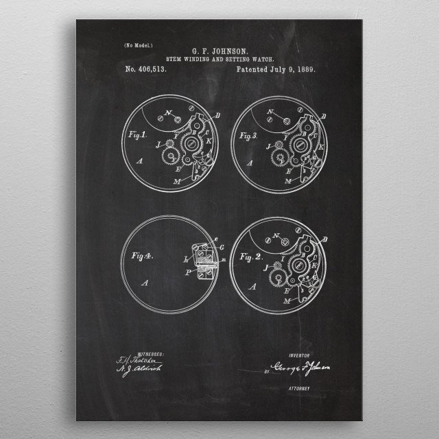 High-quality metal print from amazing Watches Patent Drawing collection will bring unique style to your space and will show off your personality. metal poster