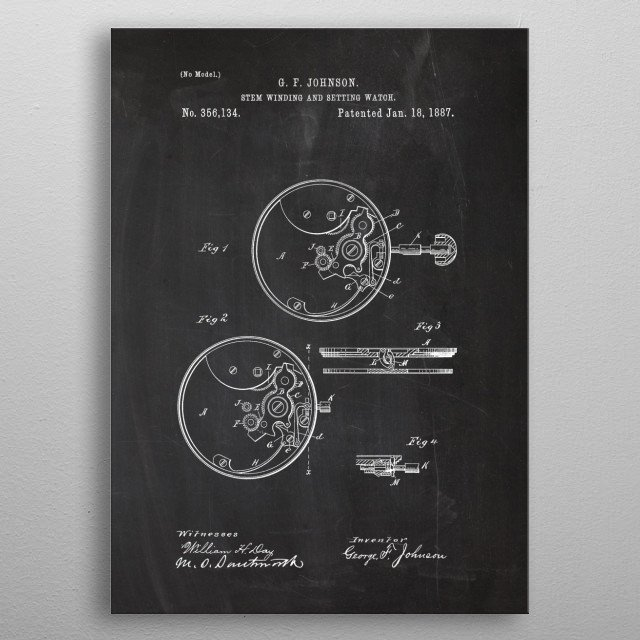 1887 Stem Winding and Setting Watch - Patent metal poster