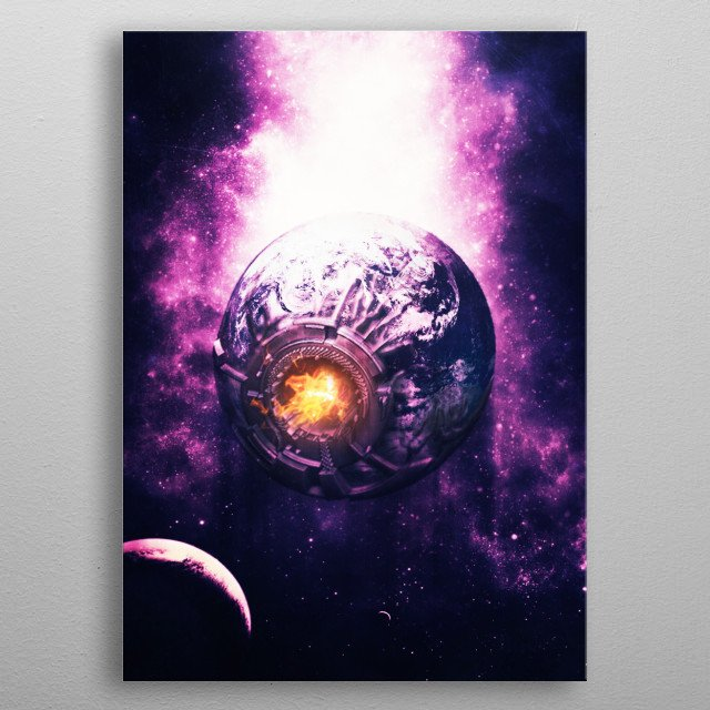 On year 2077 our Earth core will be on his  last stage before become a dead start. metal poster