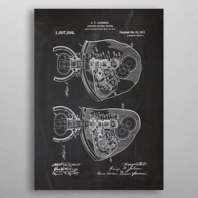 1911 Pendent Setting Watch - Patent Drawing metal poster