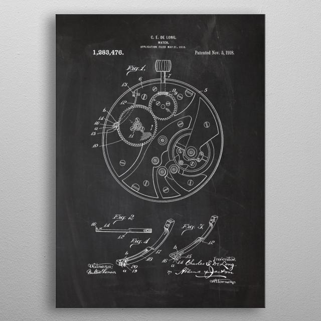 1918 Watch - Patent Drawing metal poster