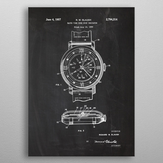 1955 Watch Time Zone Hour Indicator  metal poster
