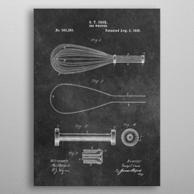 patent art Cook Egg Whipper 1896 metal poster