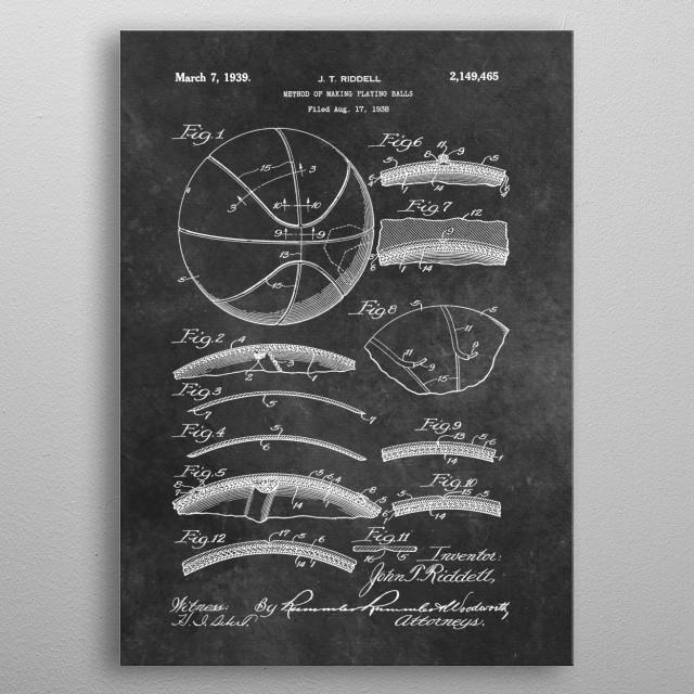 patent art Riddell 1939 Method of making playing balls metal poster