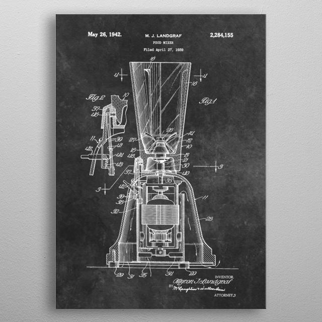 patent art Landgraf Food Mixer 1939 metal poster