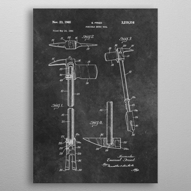 patent art Fried 1965 Forcible entry tool metal poster
