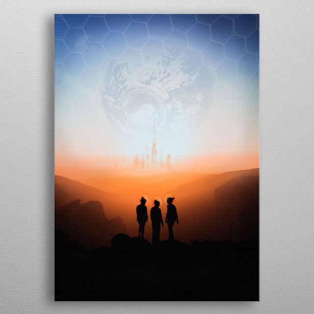 New World 2077 - is the new planet that replaced the dead star (earth). metal poster