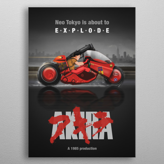 Poster of Tetsuo riding his bike at full speed with No Tokyo in the background metal poster