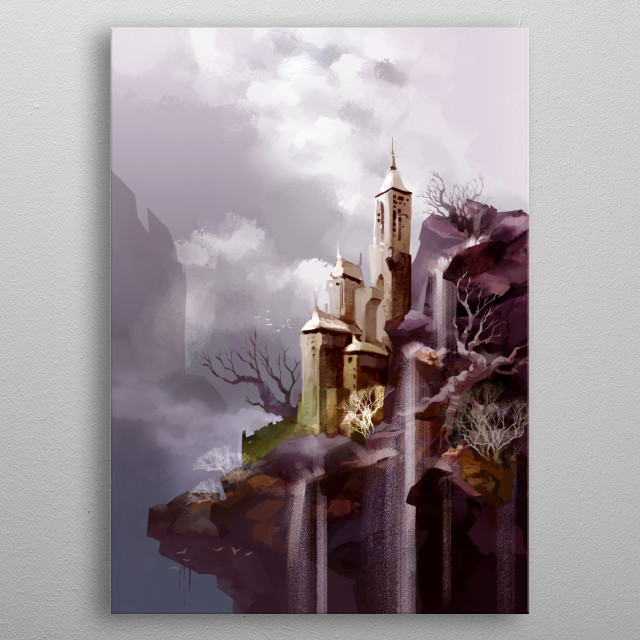 CASTLE BY THE FALLS metal poster