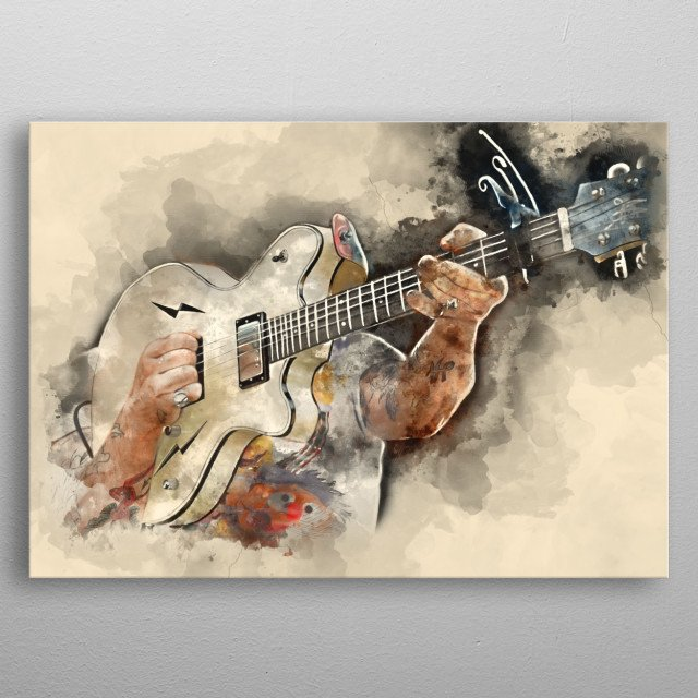 Jesse's guitar. Hand painted digital music poster caricature image with photoshop effects. Best gift for every rock music lovers. Decorate your wall with the caricatures of guitars used by rock, metal and blues icons!  metal poster