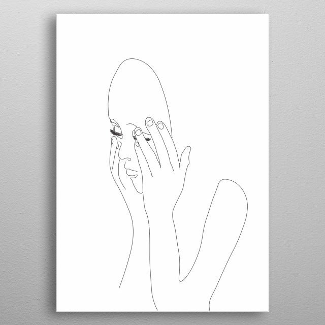 Woman with mask metal poster