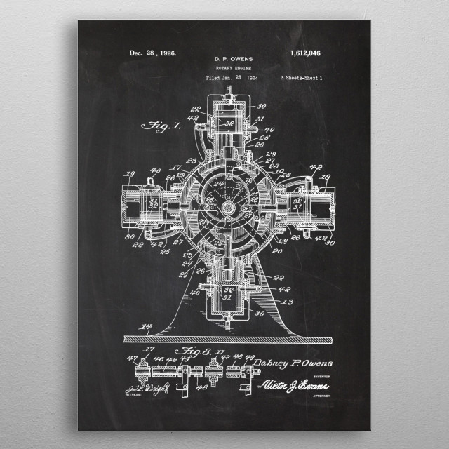 1924 Rotary Engine - Patent Drawing  metal poster