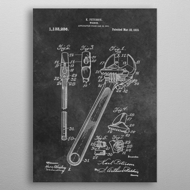 patent art Peterson 1915 Wrench metal poster