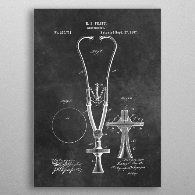 patent art Pratt 1887 Stethoscope metal poster