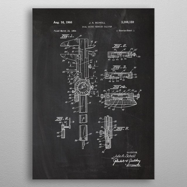 High-quality metal print from amazing Tools And Machines Patent Drawing No1 collection will bring unique style to your space and will show off your personality. metal poster