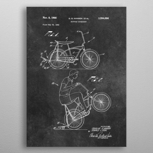 patent art Hansen Bicycle accessory 1966 metal poster