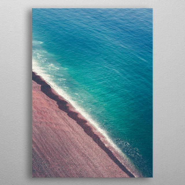 Beach near Etretat /Normandy / France seen from above the cliffs  metal poster