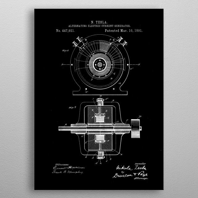 patent  Tesla electric generator metal poster