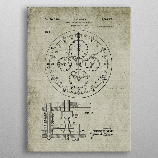 1942 Date Control for Chronometers -Patent Drawing metal poster