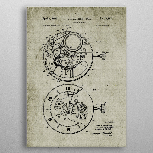 1954 Electric Watch - Patent Drawing metal poster