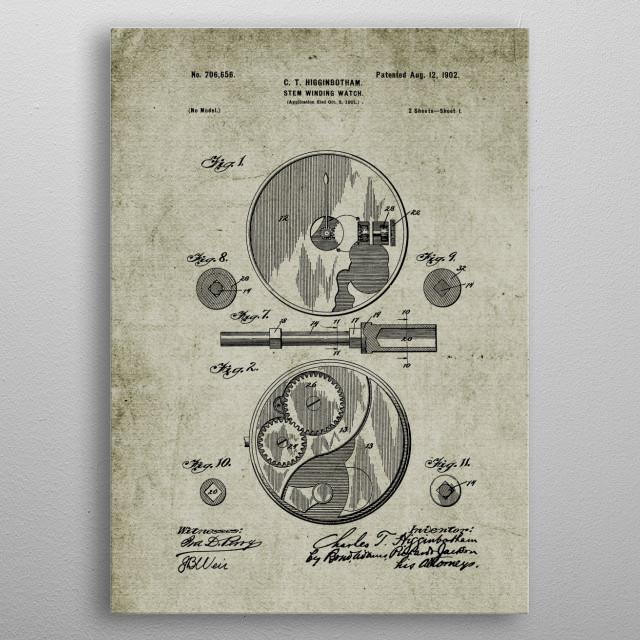 1901 Stem Winding Watch - Patent Drawing metal poster