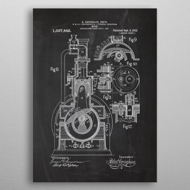 1888 Motor - Patent Drawing metal poster